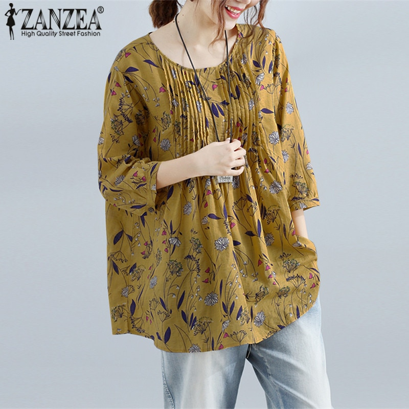 Plus Size ZANZEA 2021 Summer Women Blouse Loose Floral Print Shirt Linen Cotton Top 3/4 Sleeve Blusa Feminina Casual Camisa