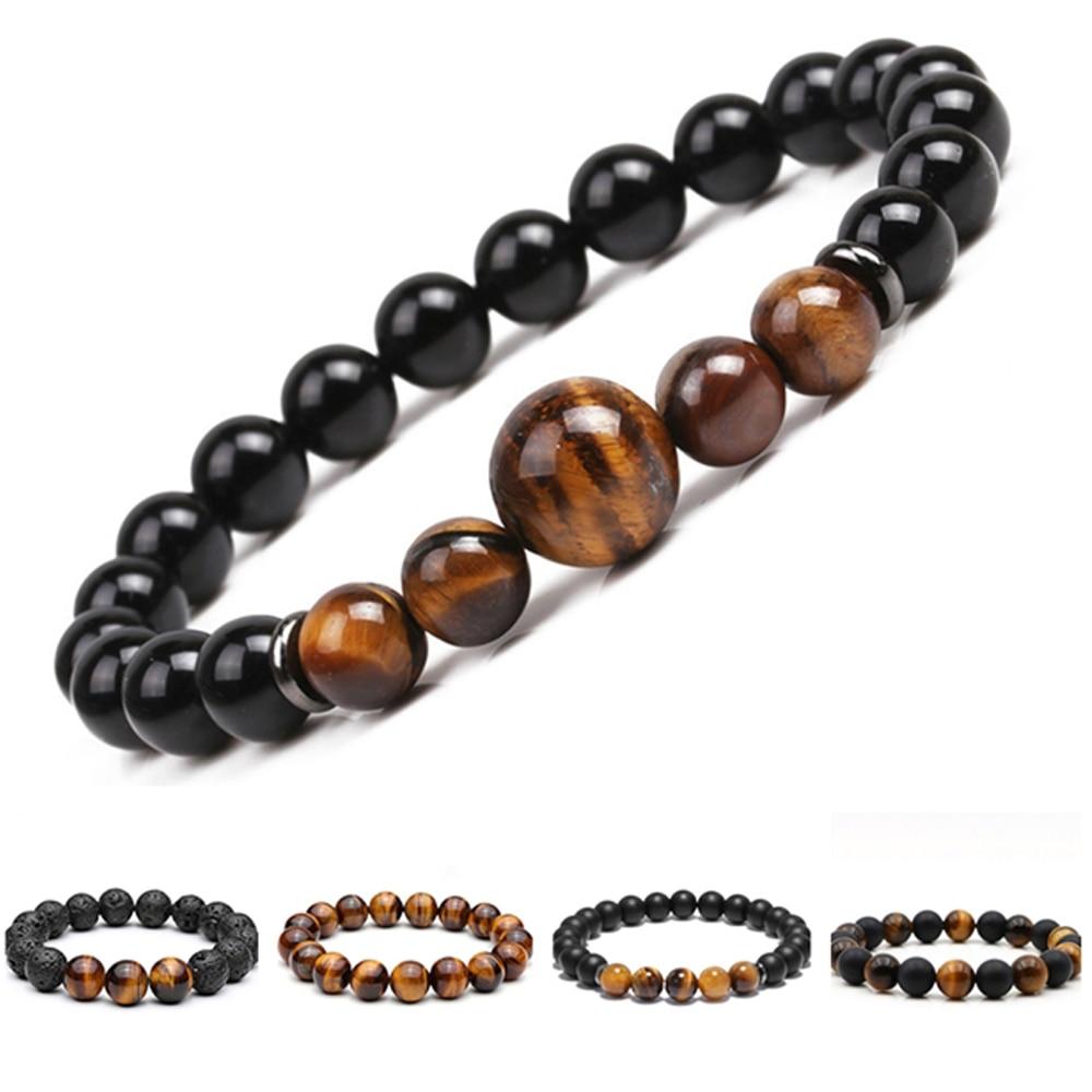 Chakra frisado pulseira masculino 8mm 12mm pedra natural lava rocha tigre olho onyx matte howlite cura contas charme yoga feminino jóias
