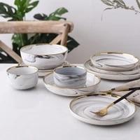 ceramic bowl dinner set rice noodles bowl phnom penh marble pattern series porcelain plate family soup bowl tableware set