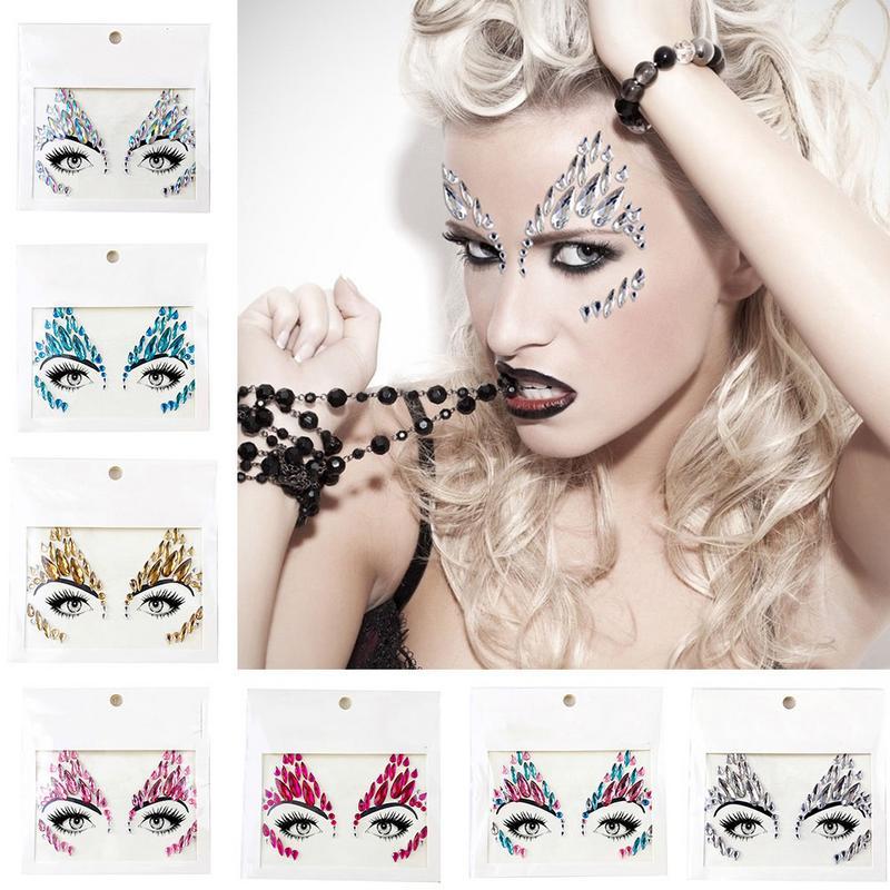 Cara del festival musical pegatina de estrás de resina decoración para el rostro DIY joyería tatuaje temporal pegatina para cejas