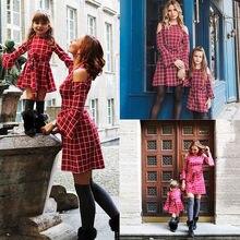 Новое платье для семьи одинаковые красные платья в клетку для мамы и дочки Одежда для девочек и мам, одежда для женщин, платья для детей от 3 до 8 лет, S-XL