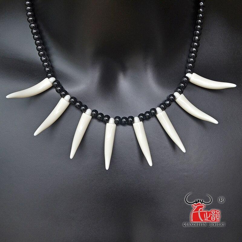 Colar de pingente de osso masculino amuleto tibetano presas dente primitivo vintage imitação lobo dente charme tribal colar da mulher