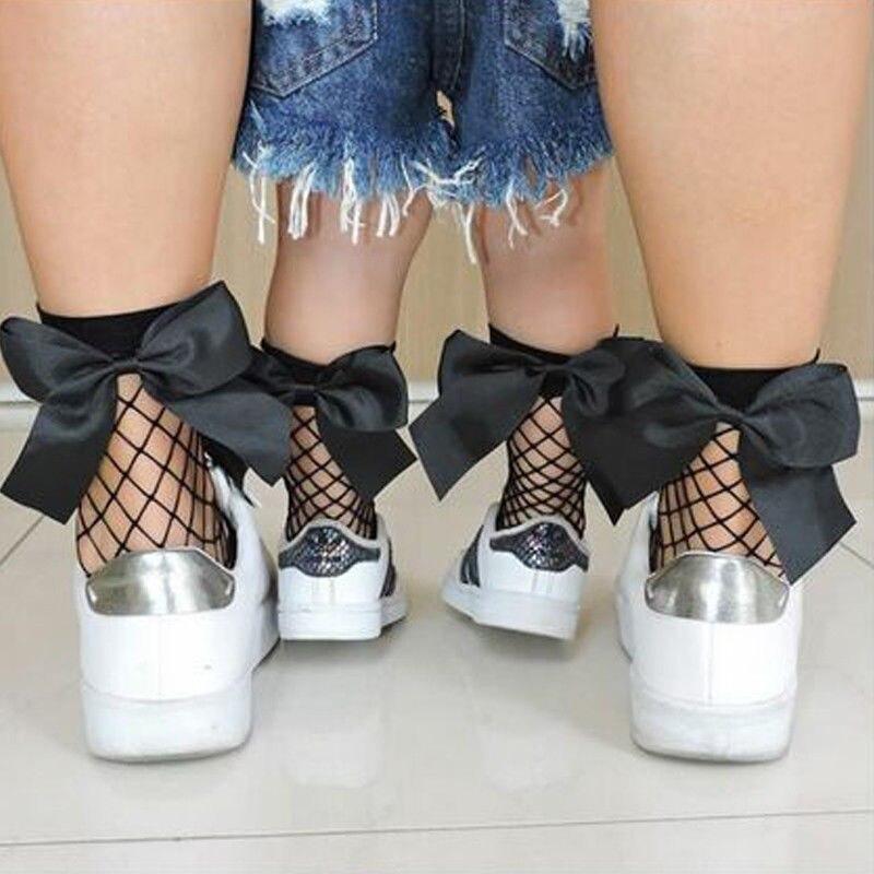 2 Pairs Frauen Rüschen Band Bogen Fishnet Knöchel Hohe Socken Mesh Spitze Fisch Net Short Socken One Size Socken