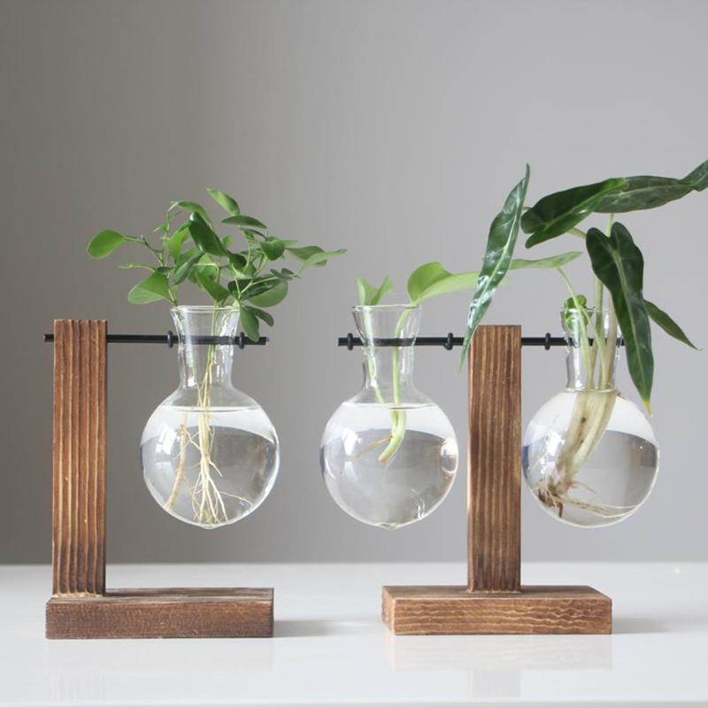 Vintage florero de vidrio Bonsai florero bandeja de madera bombilla redonda florero de escritorio pecera decoración de marco de madera