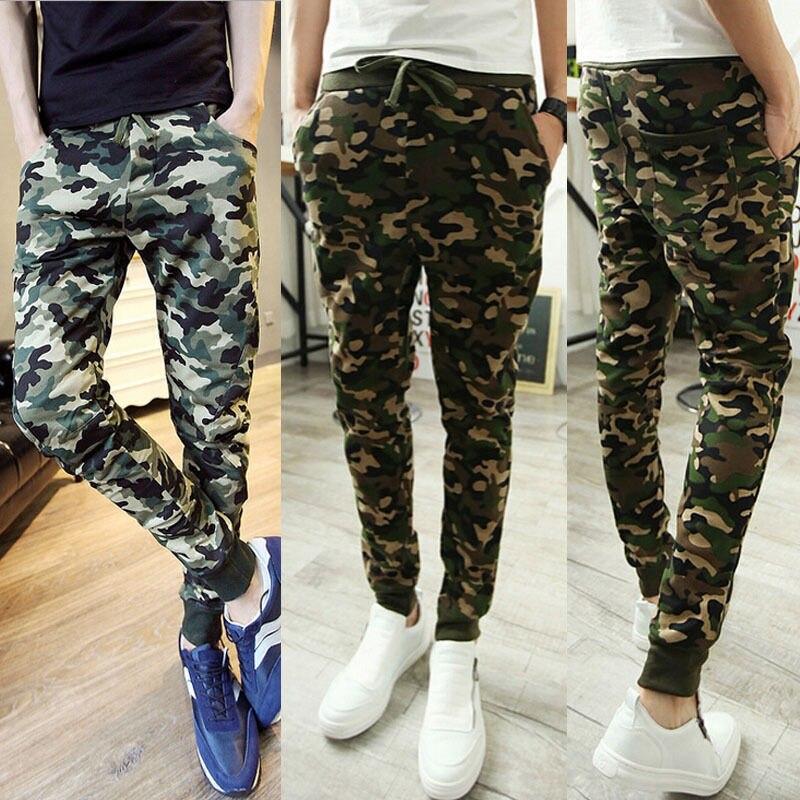 Pantalones de hombre, pantalones casuales ajustados, pantalones largos de tubo, verde militar, pantalones de camuflaje para hombre