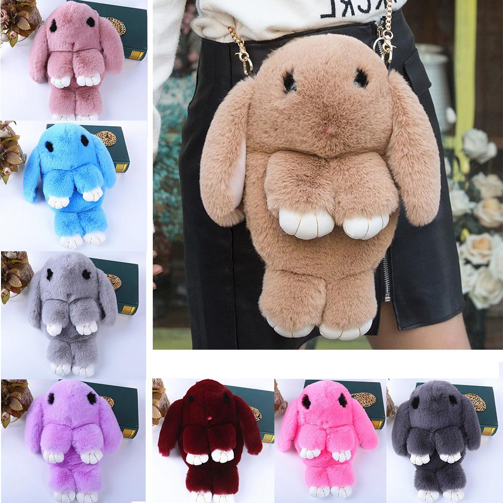 Cute Fluffy Rabbit Fur Pompoms Chain Bag Women Cartoon Rabbit Sling Bag Fluffy Bunny Shoulder Plush backpack