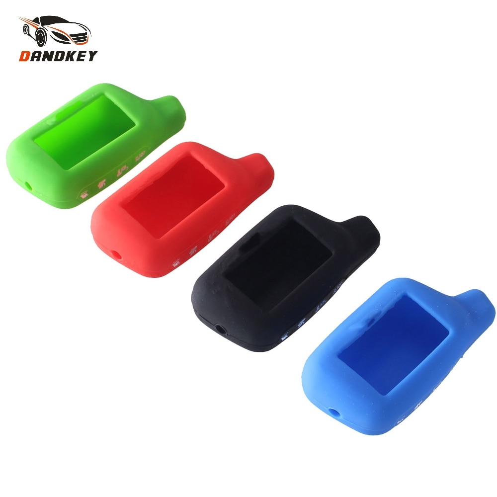 Dandkey 4 botones funda de silicona para la llave del coche cubierta 2-forma de sistema de alarma para coche LCD para Tomahawk X5 llavero para mando a distancia de la cubierta