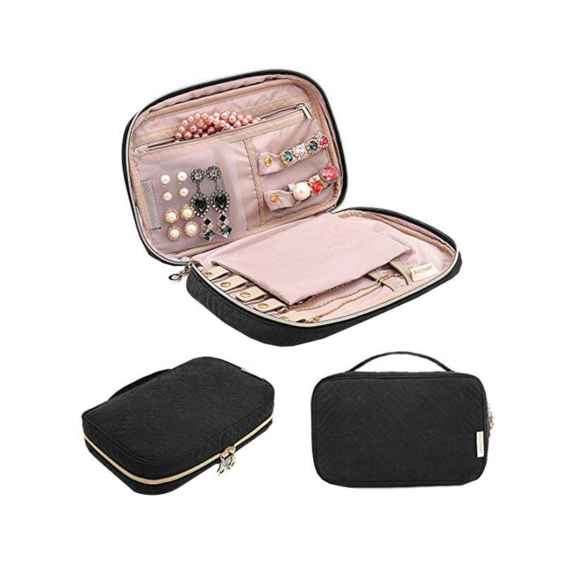 Senhora viagem portátil maquiagem jóias organizador brincos anel de unha saco de armazenamento colar pulseira zíper caixa acessórios suppliess