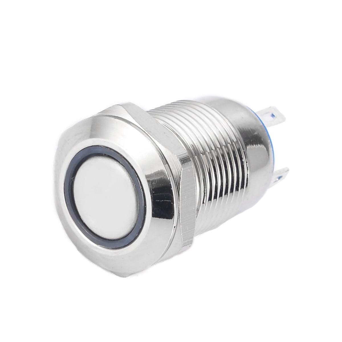1 Uds. Interruptor de botón de metal de reinicio de 4 pines de cabeza plana plateado 12 LED resistente al agua interruptor momentáneo de botón de luz