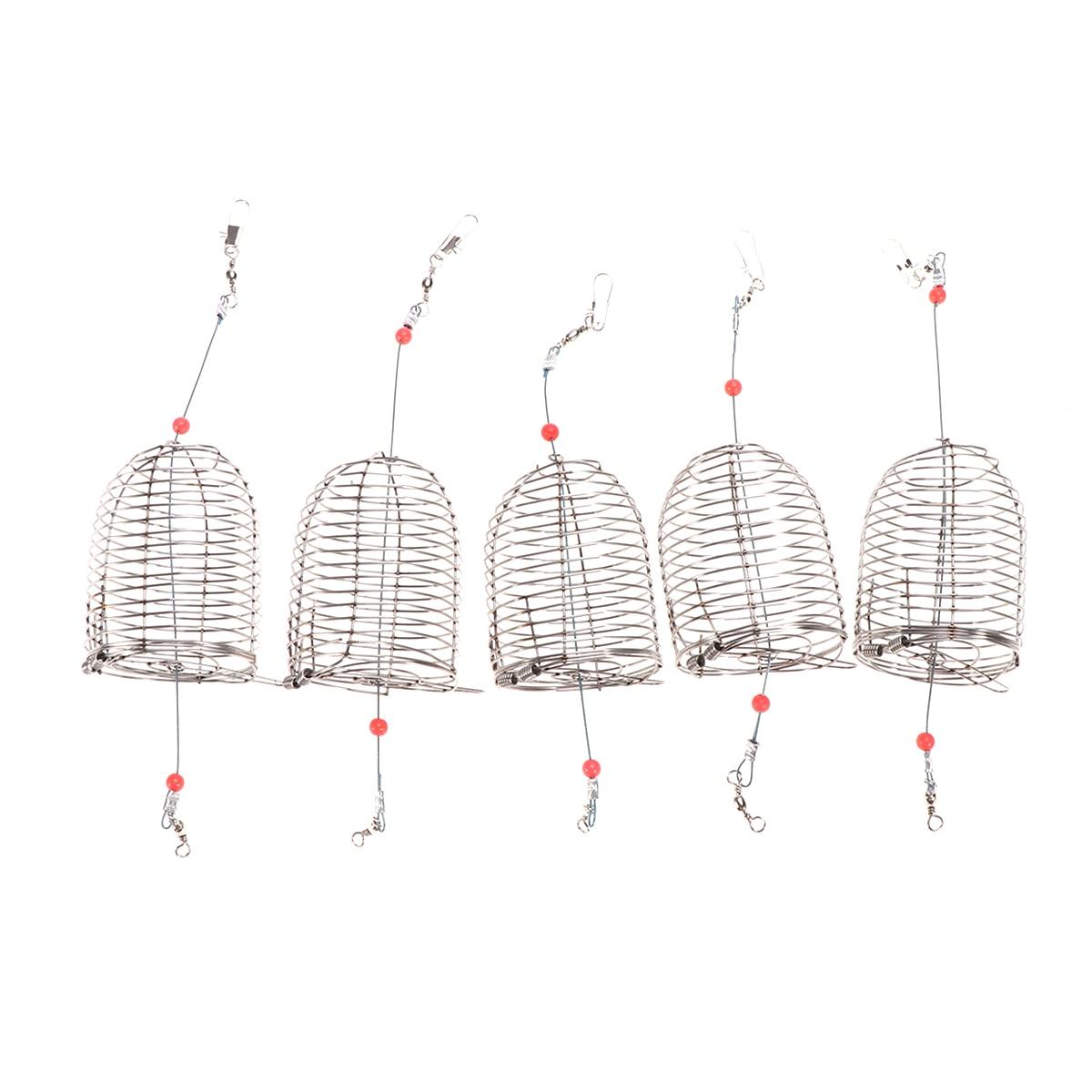 5 uds. De acero inoxidable jaula para cebo de pesca jaula cebo cesta de la trampa de pesca soporte alimentador aparejos de pesca