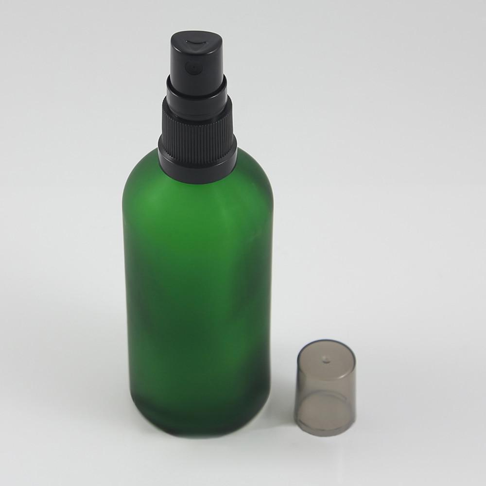 Atomizador para botella de Perfume, botellas de vidrio para señora 100 ml, botella de vidrio verde con bomba de plástico negro