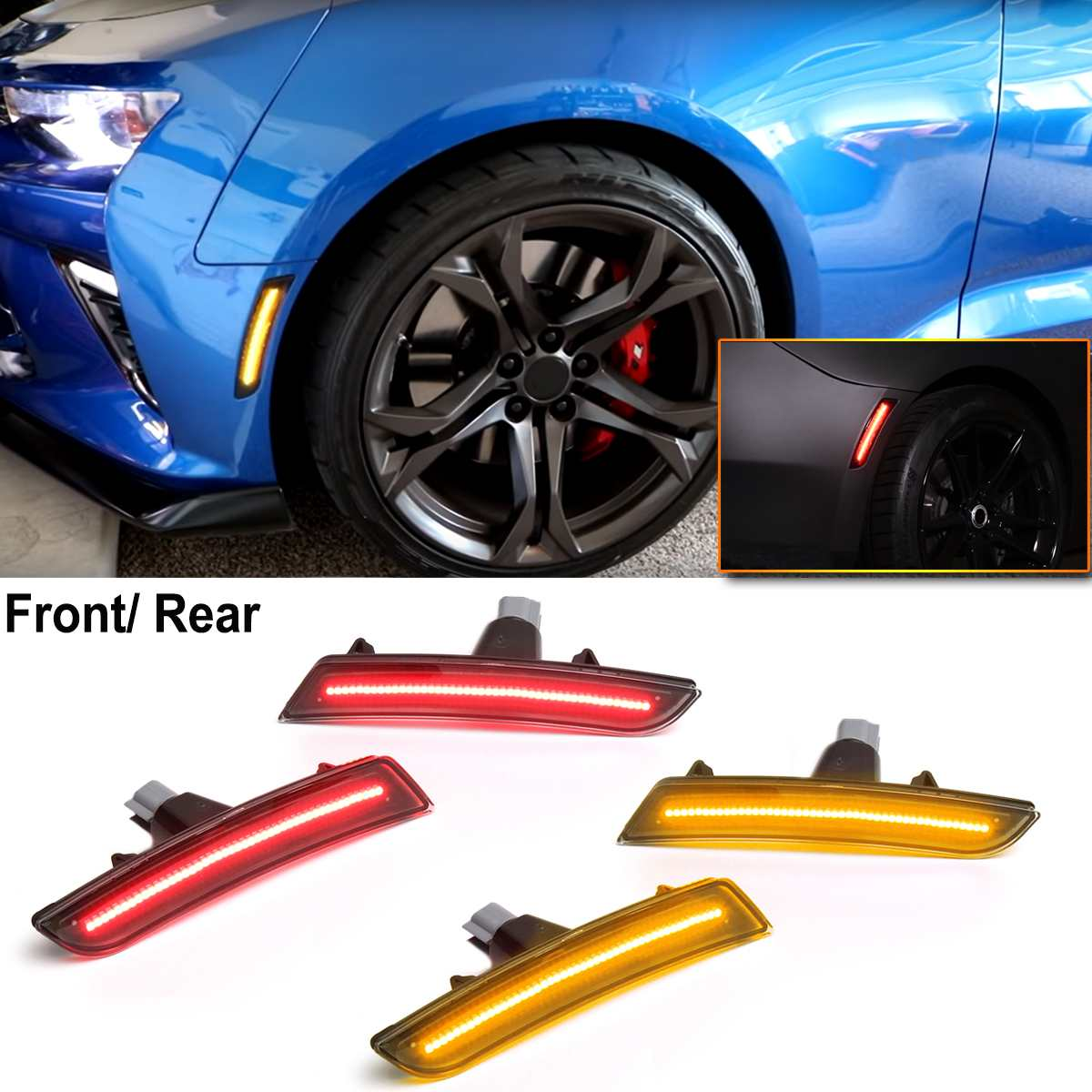 EIN Paar 12V ABS + LED Für Chevy Camaro 2016 2017 2018 2019 Smoked Objektiv LED Front Bernstein Lampe rück Rote Seite Marker Lichter Lampen