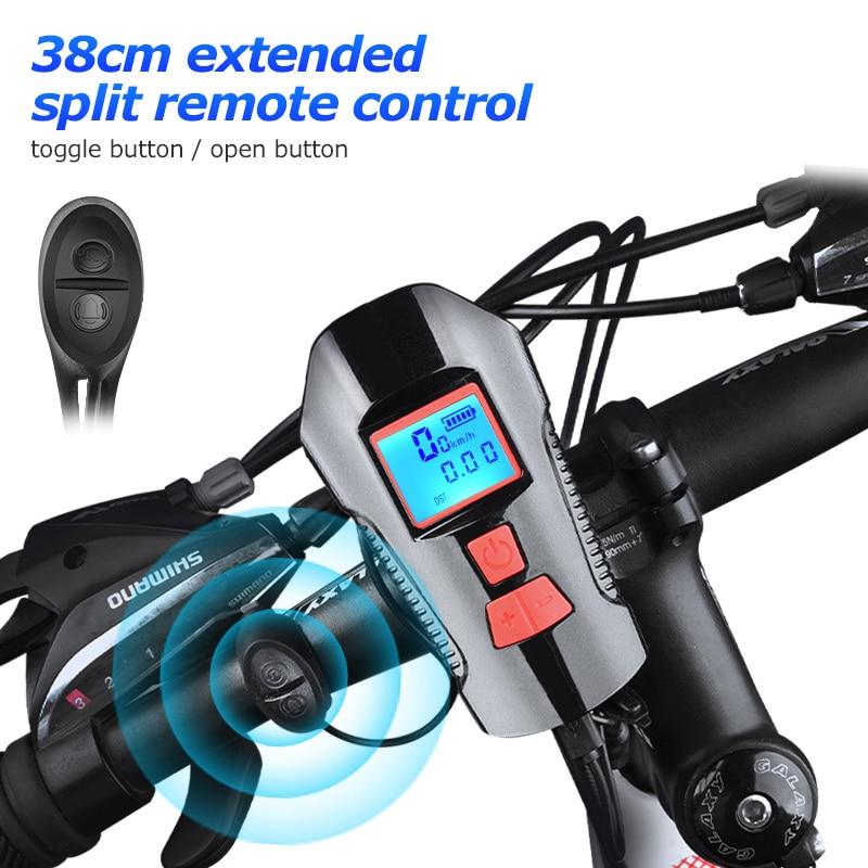Timbre de bicicleta a prueba de agua con luz USB carga bicicleta luz delantera linterna manillar ciclismo cabeza luz w/cuerno medidor de velocidad LCD