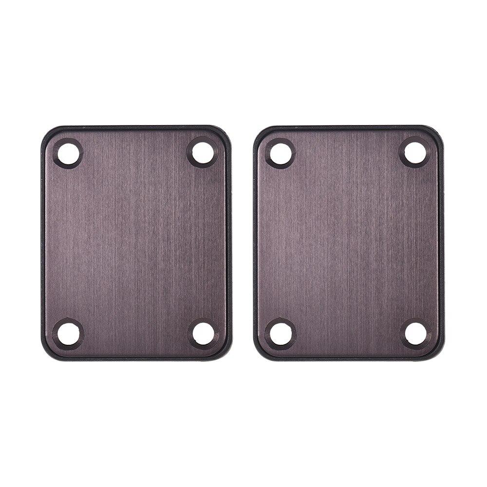 2 pçs guitarra pescoço placas de liga de alumínio neckplate com parafusos e plástico volta placa peças para guitarra elétrica caixa charuto