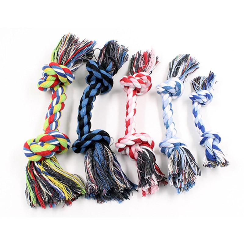 1 шт. собачий щенок двойной хлопок жевательный узел игрушки товары для питомцев чистые зубы прочная плетеная костяная веревка случайный цвет ПЭТ молярная игрушка
