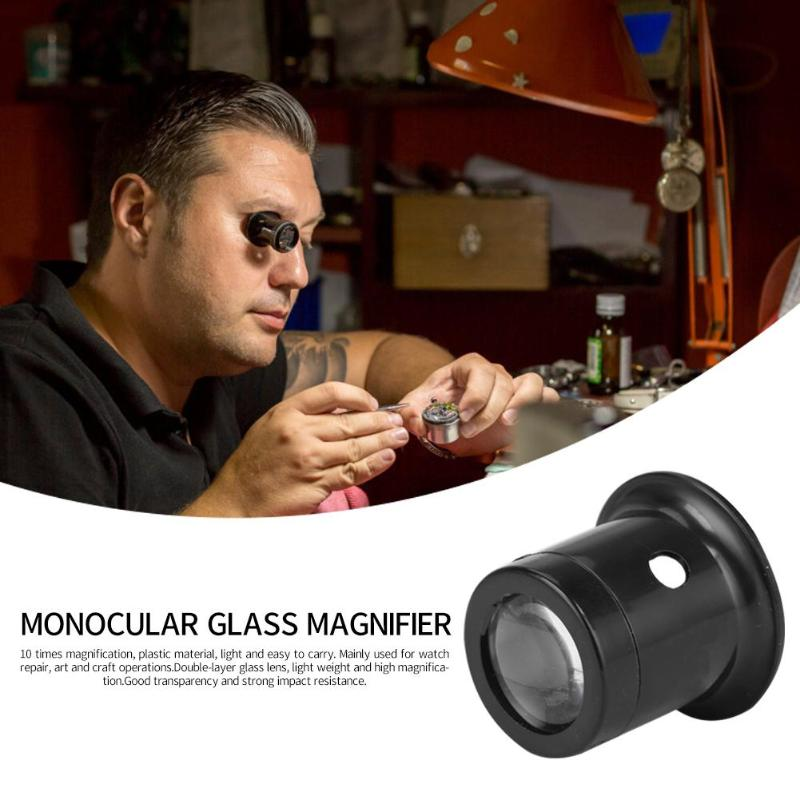 10X  Monocular Glass Magnifier Watch Jewelry Repair Tools Loupe Lens Black Professional Eye Optical
