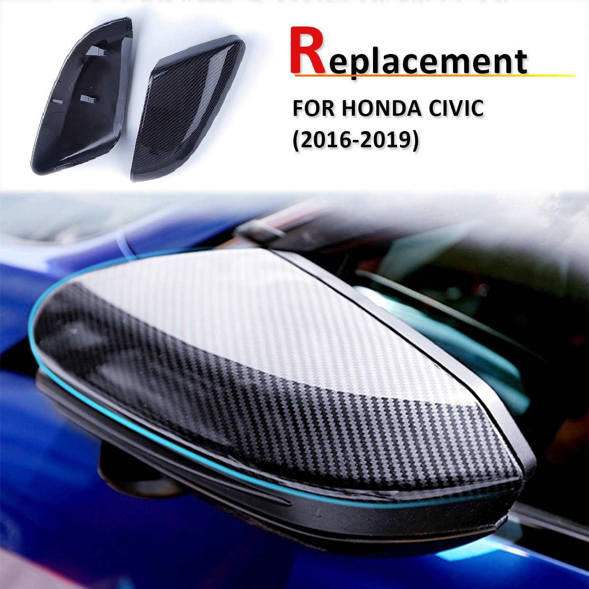 Para Honda para Civic 2016 2017 2018 reemplazo estilo de fibra de carbono ABS vista trasera puerta lateral espejo cubierta de ala tapas de retrovisor