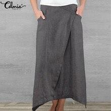 Women Maxi Skirts Celmia 2020 Summer Casual High Waist Asymmetrical Vintage Long Skirt Plus Size Cotton Pleated Beach Skirts 5XL