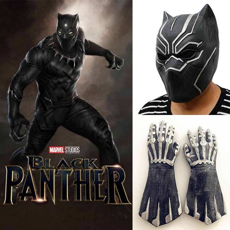 Cosplay Black Panther Mask Glove Latex Captain America 3 Marvel Civil War Hero Prop Halloween Costume Accessories
