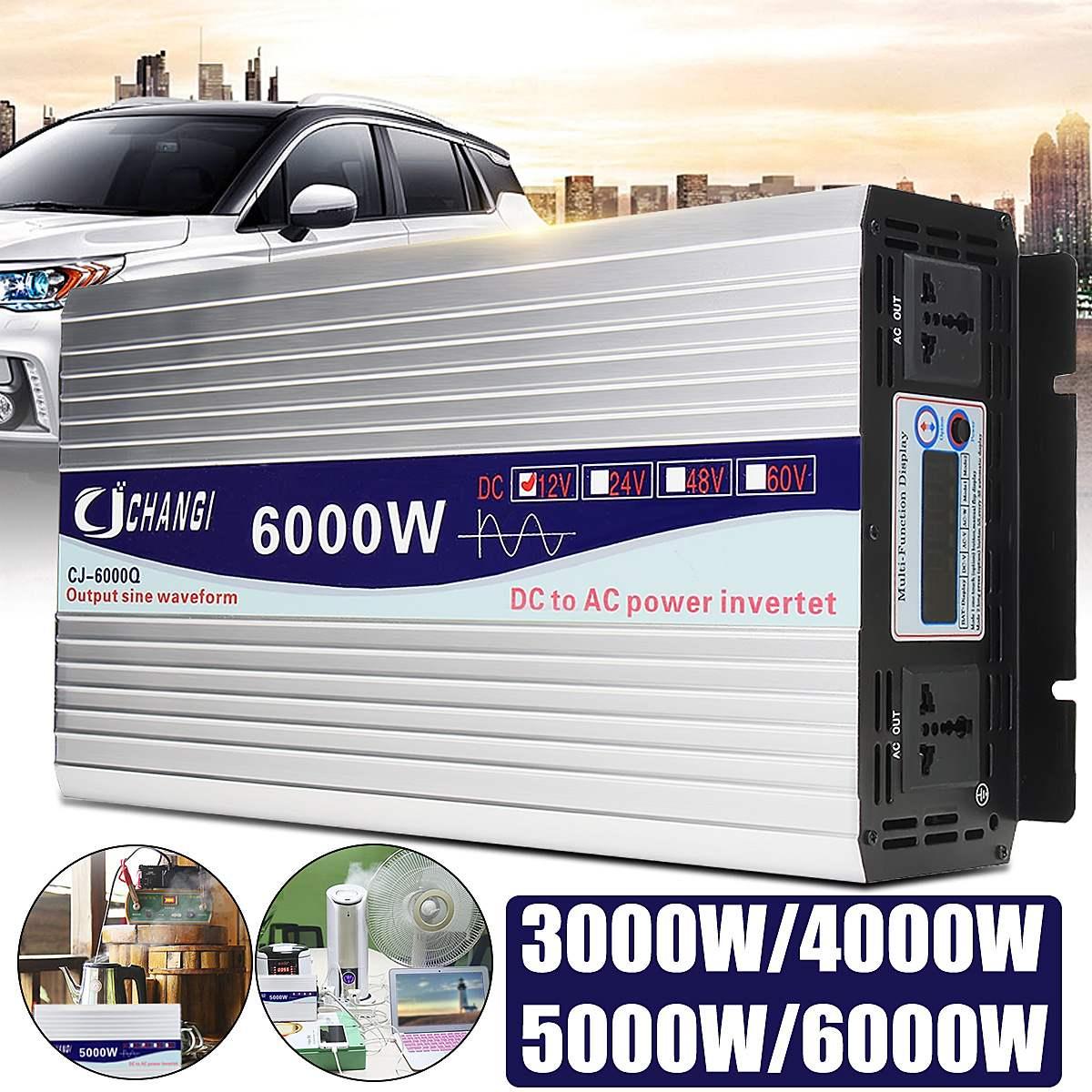 DC 12 V/24 V a AC 220V 6000/5000/4000/3000W inversor de potencia de onda sinusoidal inteligente Color LCD pantalla coche casa al aire libre inversor