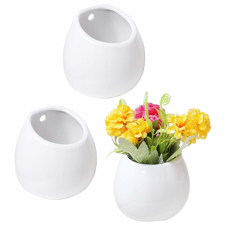 Decoración del hogar Juego de 3 Mini jarrón blanco de cerámica para montar en pared, maceta suculenta colgante de 4 pulgadas, florero de decoración para boda
