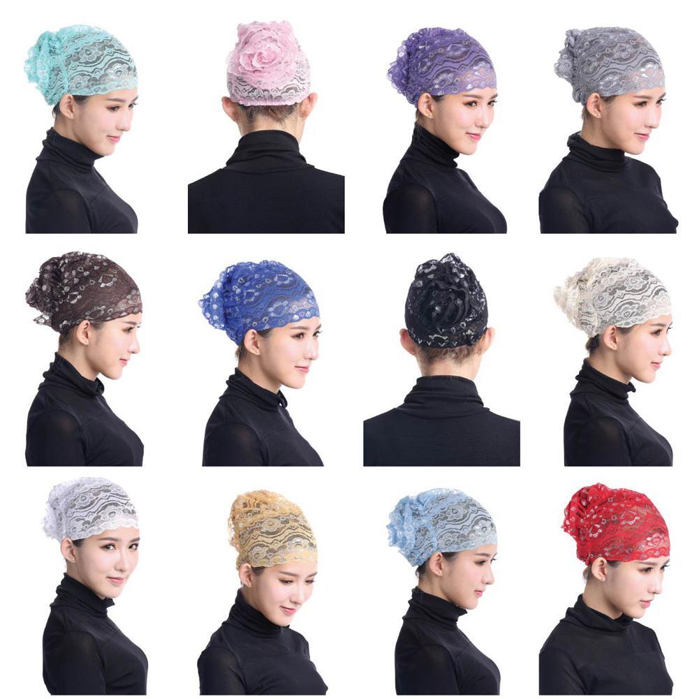 2019 nueva cubierta completa interior musulmana hiyab de encaje gorra islámica para llevar la cabeza gorra Underscarf 12 colores mujeres musulmana gorra Hijab interior de encaje
