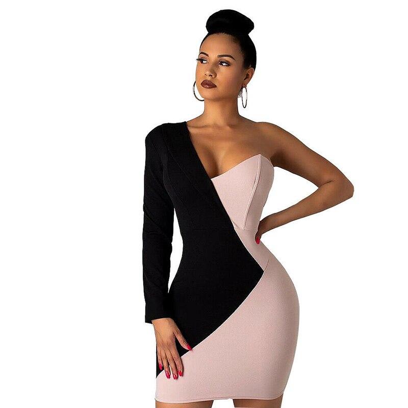 Vestido elegante ceñido al cuerpo de manga larga de un hombro para fiesta de noche Mini Sexy vestidos de retazos ropa de mujer moda 2019