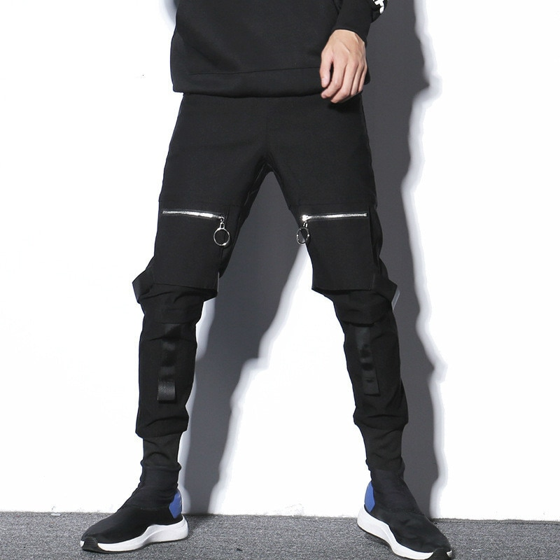 #1708 2019 Spring Black Pencil Pants For Men Streetwear Hip Hop Pants Men Multi Pockets Zipper Ribbons Mens Joggers Streetwear