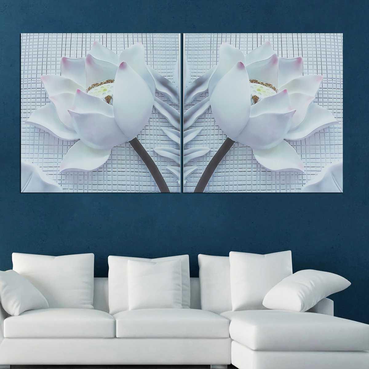 3D White Rose Cópia Da Lona Moderna Pintura Retrato Da Arte Da Parede Sem Moldura 2 Pcs 2 Tamanho Papel De Parede Casa Decoração Da Parede Do Casamento adesivo