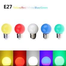 5 couleurs colorées AC 220 V 1 W E27 LED ronde boule de Golf lumière économie dénergie Mini ampoule lampe
