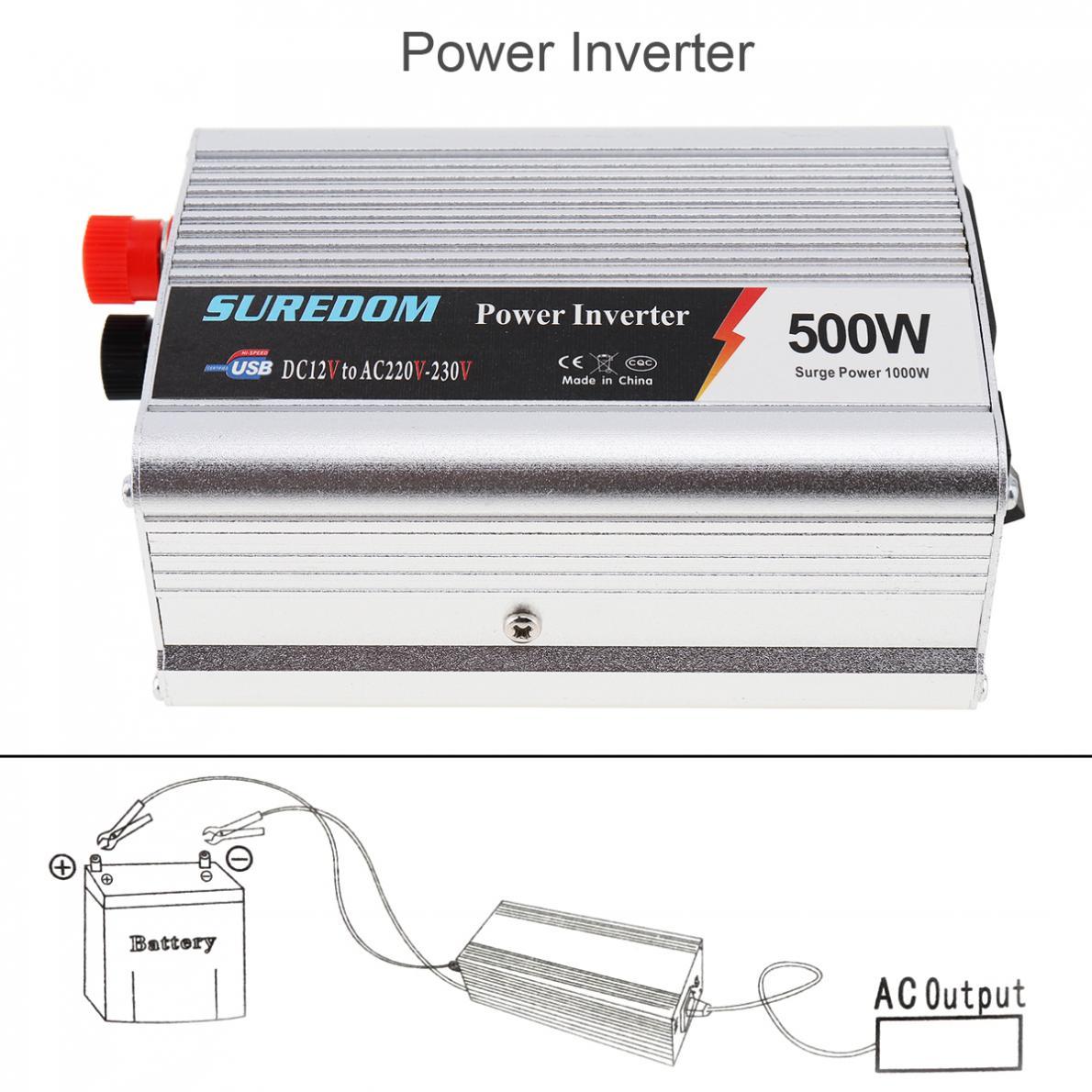 500W Car Inverter DC 12V 24V to AC 220V 110V USB Auto Power Inverter Adapter Charger Voltage Transformer Peak Power 1000W