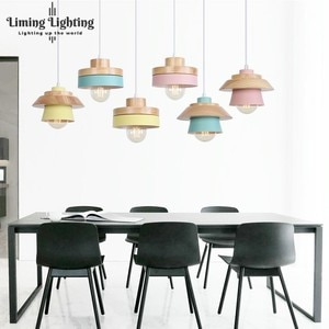 Nordic Modern Colorful Wood Bowl Pendant Lights Lamparas Minimalist LED Creative Personality Macarons Dining Room Lamp