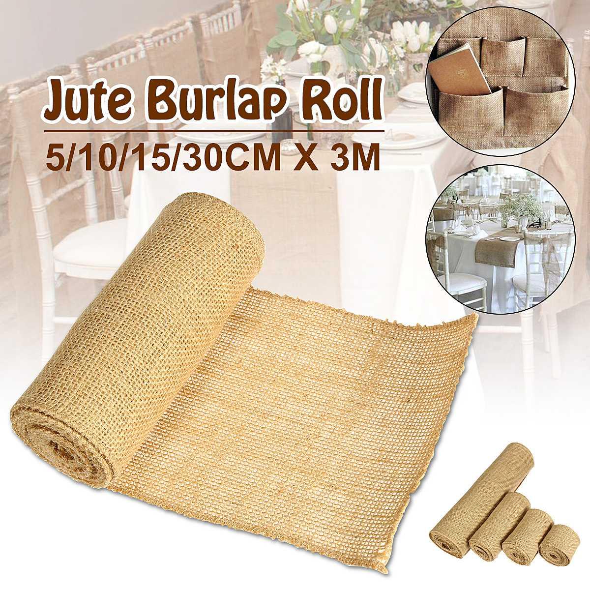 Tejido de yute y arpillera Natural Hessian Rollo de cinta para manteles individuales bolsas mantel Fondo decoración malla Linnen tela textil