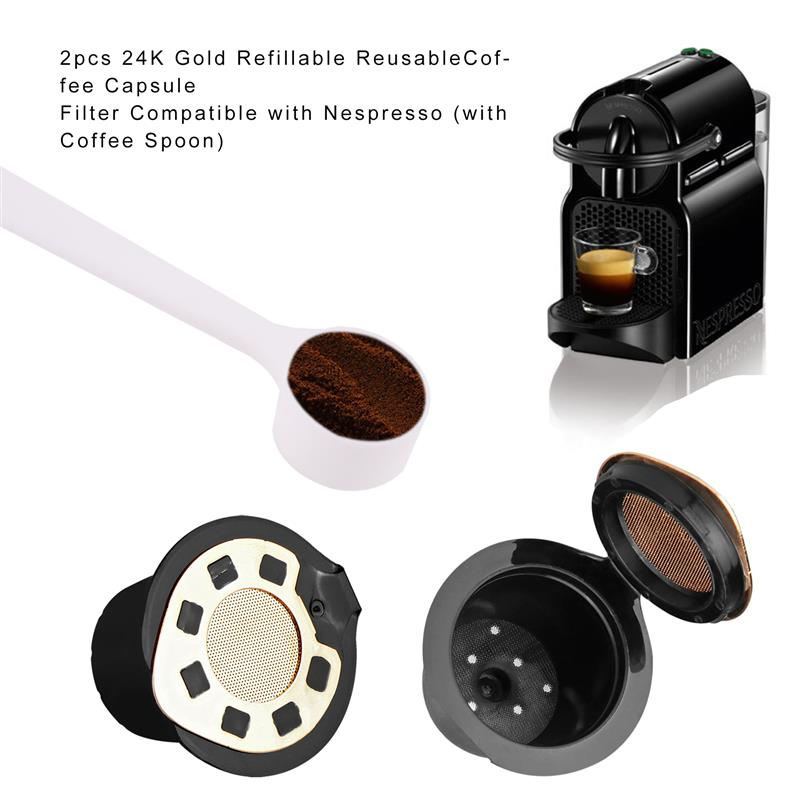 2 uds. Cápsulas de plata para Nespresso sabor dulce con cuchara de café reutilizable rellenable soporte de filtro de cápsula de café