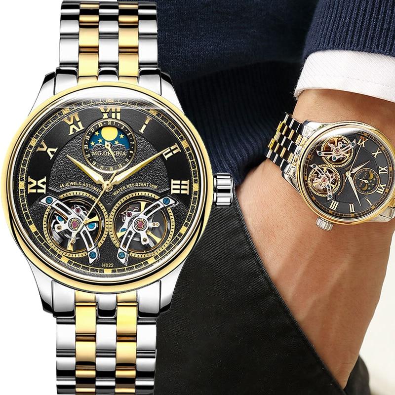 MG.ORKINA Business Automatic Men Watch Mechanical Skeleton Watches Waterproof Tourbillion Stainless Steel Black Flywheel Watch