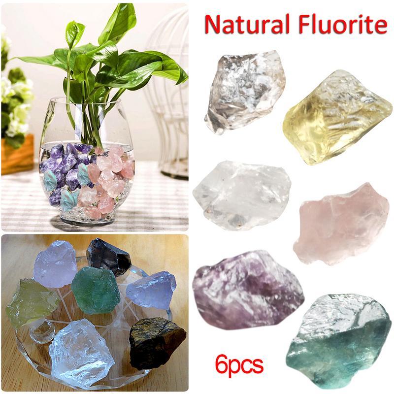 6PCS / Bag Natural Fluorite Raw Gemstone Quartz Crystal Stone Point Healing Wand Treatment Stone Amethyst Gift Home Decoration