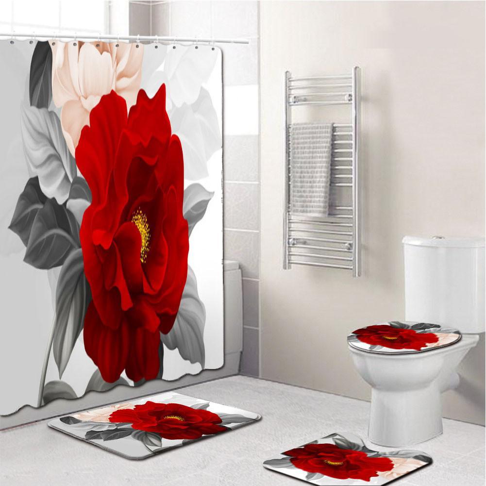4Pcs/Set Elegant Flowers Pattern Shower Curtain Mat Set Non Slip Rugs Carpet for Bathroom Toilet Bath