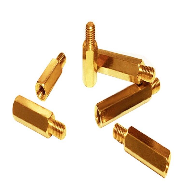 ENTREGA GRATUITA Hexagonal puntales de cobre pendientes de tuerca/espacio tornillos de latón separador pilares huecos H6 M4 * 5/6 /22/28/32/38/70/80/100 + 6mm