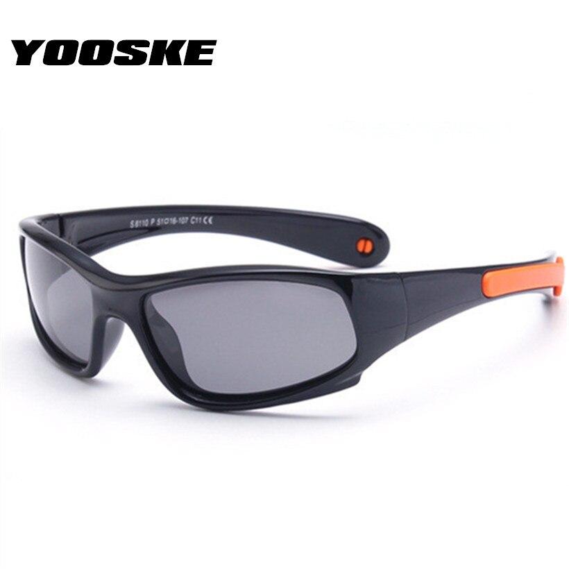 Gafas de sol polarizadas YOOSKE irrompibles para niños, gafas de sol a la moda para niños y niñas, gafas de seguridad de silicona, marco de Color caramelo