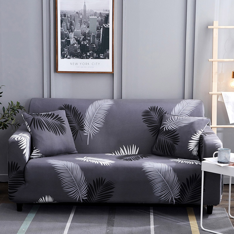 1 ud. Funda para sofá de algodón con diseño de hojas/flores fundas elásticas para sofá fundas para sofás vers42