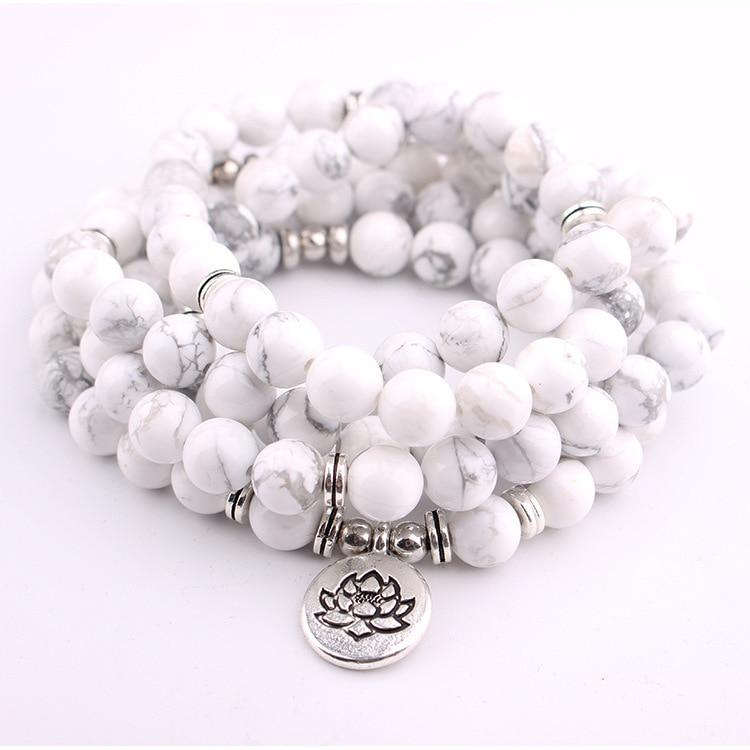 Pulsera o collar Mala 108 de pino blanco de 8mm para hombre y mujer, cuentas de oración curativas para Yoga, pulsera con abalorios
