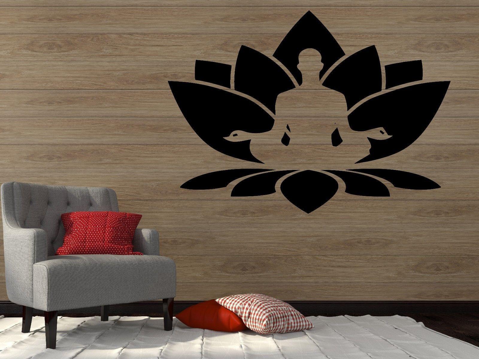 Yoga Wall Vinyl Sticker Decal Lotus Flower Seated Buddha Meditation Yoga Studio Sticker