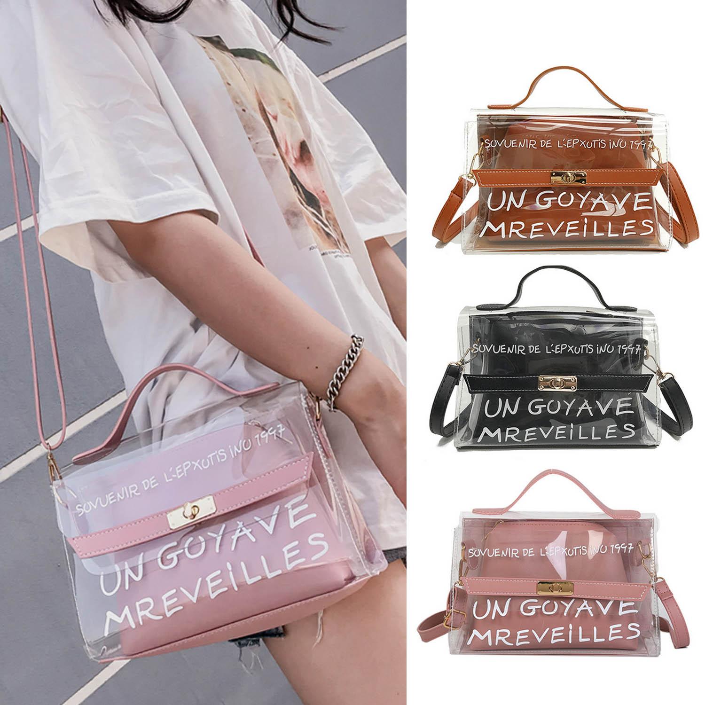 Behogar Moda Feminina Ladies Claro PU Leather Shoulder Crossbody Bag Bolsa Set para Atividade Ao Ar Livre Compras Diárias