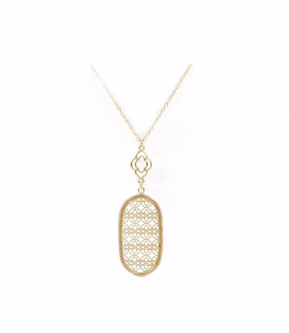 Полый Овальный филигранный ожерелье с кулоном в форме продолговатой формы, длинное ожерелье для женщин, подарок на день Святого Валентина