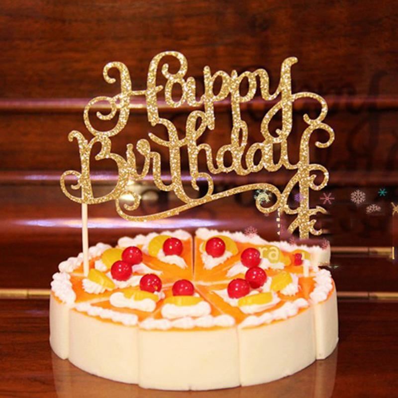 Golod/prata cristal strass brilhante, feliz aniversário bolo enfeite de decoração de festa de aniversário crianças