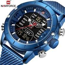 NAVIFORCE hommes montres haut de gamme marque hommes sport montres hommes LED à Quartz horloge numérique mâle plein acier militaire montre-bracelet