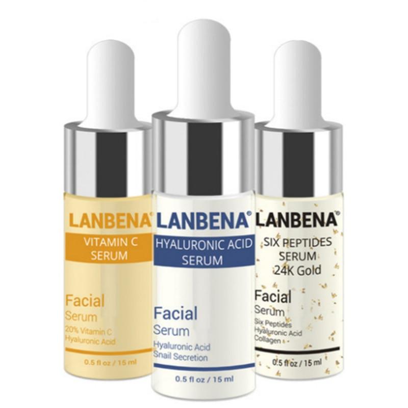 LANBENA Vitamin C +Six Peptides Serum 24K Gold+Hyaluronic Acid Serum Anti Aging Wrinkle Moisturizing Whitening Skin care