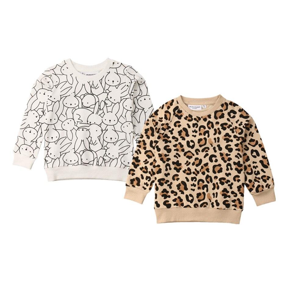 2019 Primavera Páscoa Coelho Do Bebê Dos Miúdos Da Menina do Menino T-shirt da Cópia do Leopardo de Mangas Compridas Camisolas do Revestimento do Revestimento do Outono Roupas