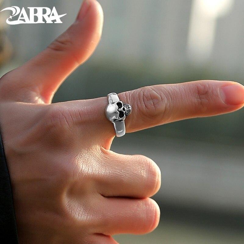 Zabra Настоящее стерлингового серебра 925 Панк Skull Ring Для мужчин Винтаж Кольца для Для мужчин Для женщин любителей модные ювелирные изделия anillos де плата 925