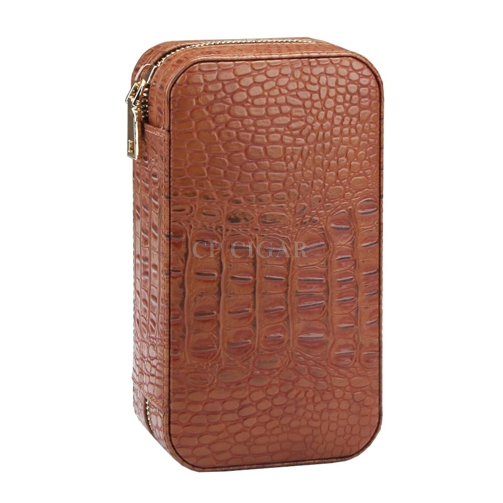 COHIBA Cigar Travel Cigar Case Leather Cedar Wood Portable Cigar Humidor With Humidifier For 6 Cigars